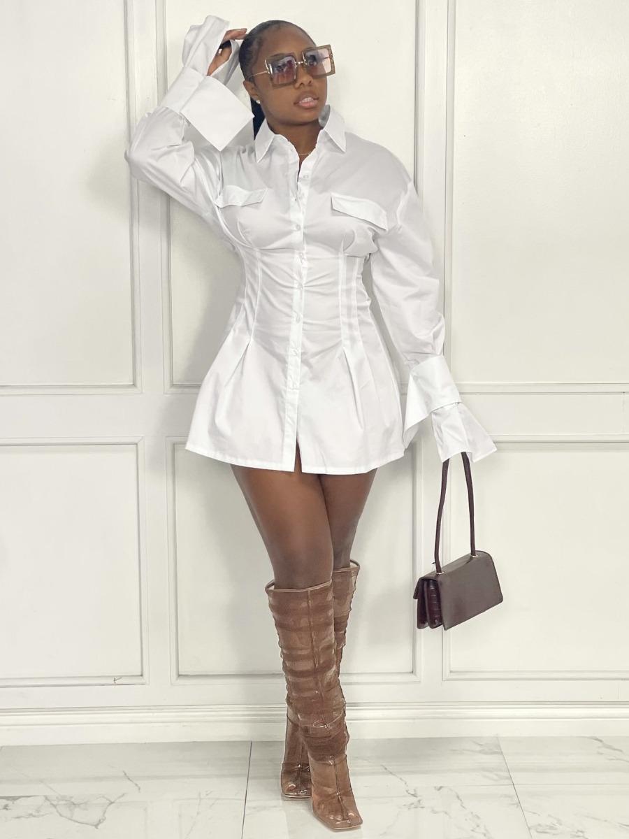 LW Button Design Fold Design Shirt Dress