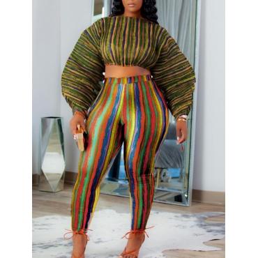 LW Plus Size See-through Striped Pants Set