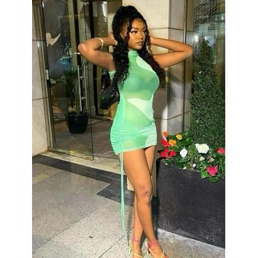 LW SXY See-through Color-lump Drawstring Light Green Mini Dress