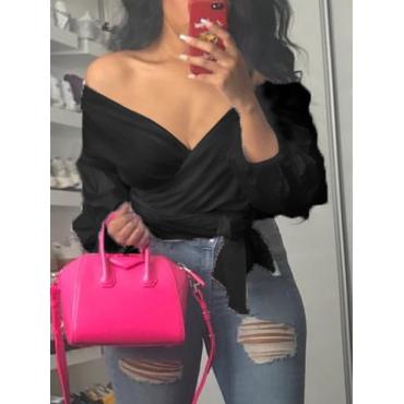 Stylish V Neck Long Sleeves Falbala Design Black Polyester Shirts