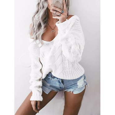 Elegante Luva Longa Mangas Compridas Algodão Branco Misturas Pullovers