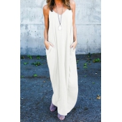 Casual V Neck Cotton Blend Light White Cotton Blend Ankle Length Dress(Without Accessories)