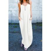 Повседневная V-образная вышивка Хлопчатобумажная пряжа Светлое белое платье из хлопчатобумажной ткани для бретелек (без аксессуаров)