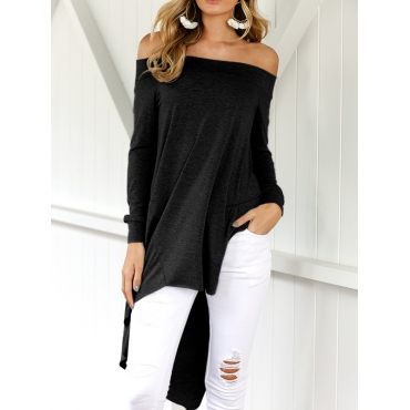 Leisure Dew Shoulder Asymmetrical Black Cotton Blends Shirts