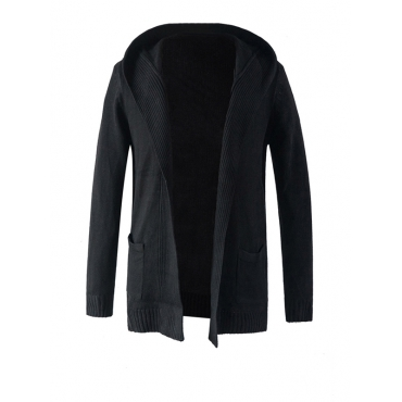 Stylish Hooded Collar Long Sleeves Black Cotton Blends Coat