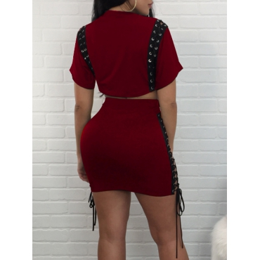 Stylish Round Neck Patchwork Wine Red Polyester Two-piece Shorts Set