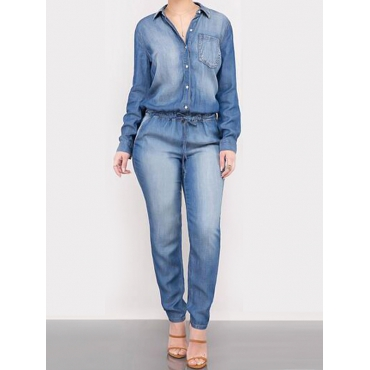 Trendy Turndown Collar Light Blue Denim One-piece Jumpsuits