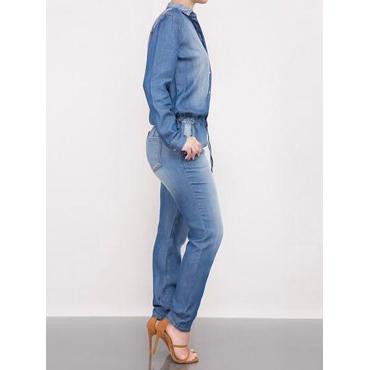 Trendy Turndown Collar Light Blue Denim One-piece Jumpsuits