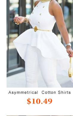 Asymmetrical White Cotton Shirts