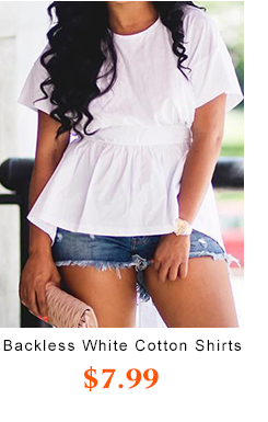 Backless White Cotton Shirts