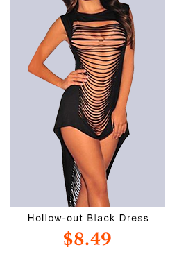 Hollow-out Black  Length Dress