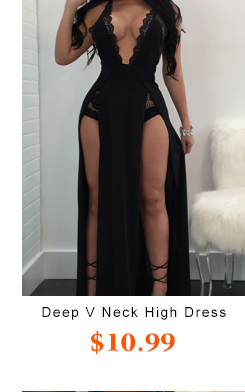 Deep V cuello alto Split Dress