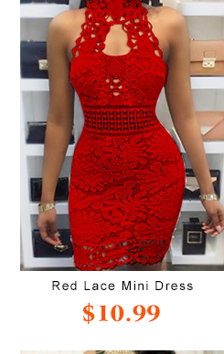 Backless Red Lace Mini Dress
