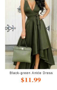 Black-green  Ankle Length Dress