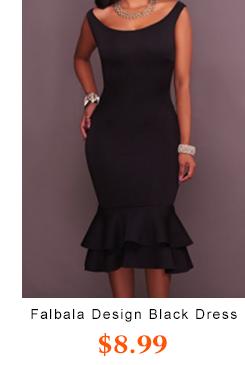 Falbala Design Black Dress